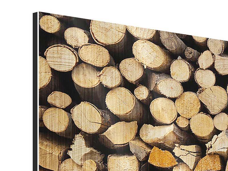 Panorama Metallic-Bild 3-teilig Brennholz