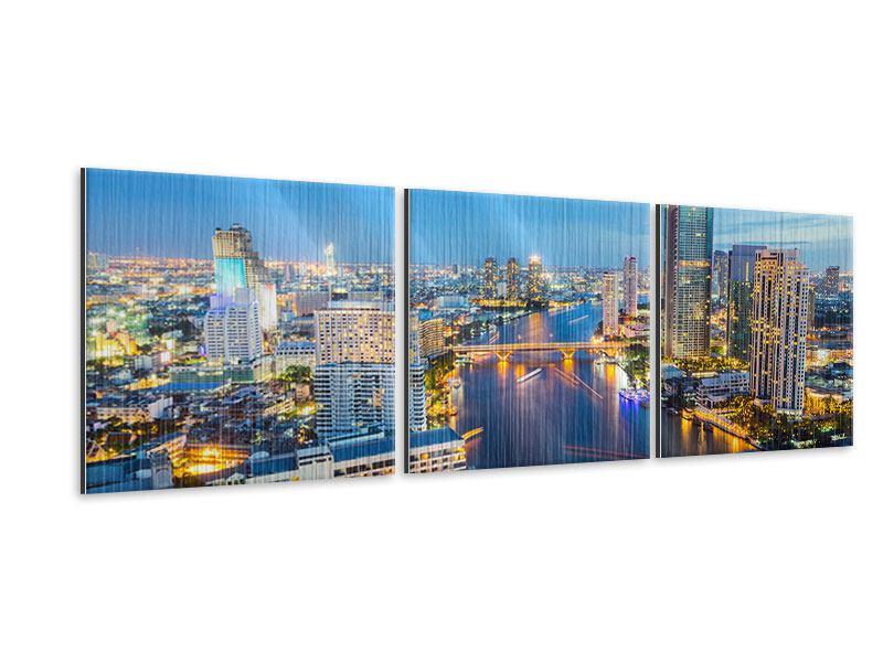 Panorama Metallic-Bild 3-teilig Skyline Bangkok bei Sonnenuntergang
