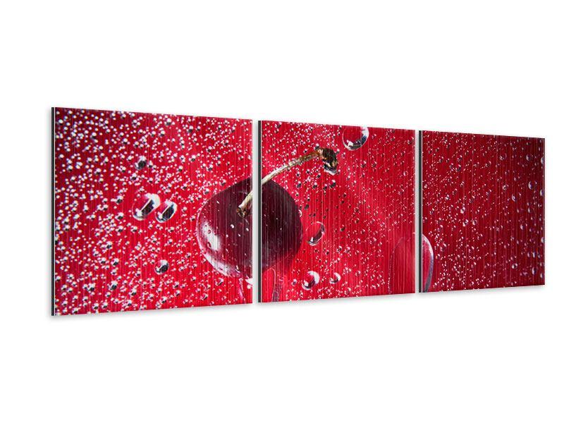 Panorama Metallic-Bild 3-teilig Die Kirsche