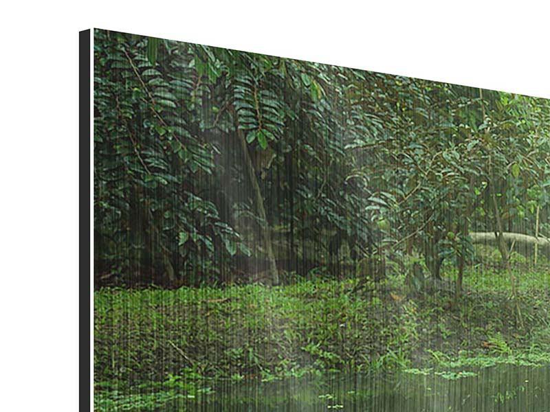 Panorama Metallic-Bild 3-teilig Gartenteich