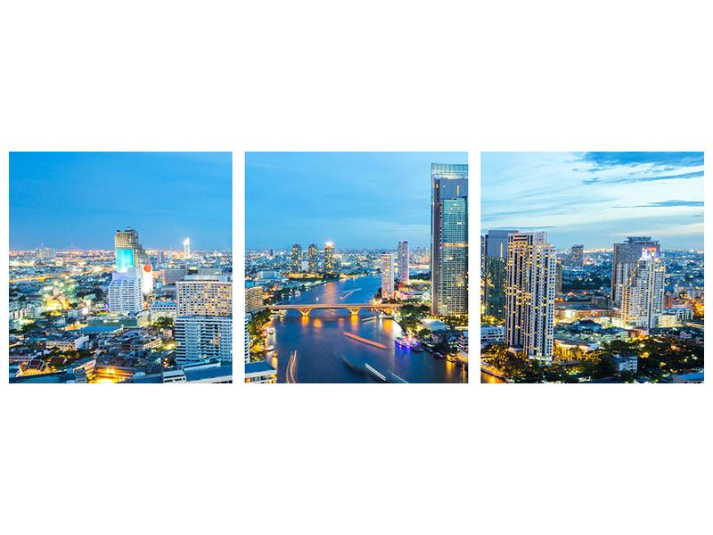 Panorama Metallic-Bild 3-teilig Skyline Bangkok in der Abenddämmerung