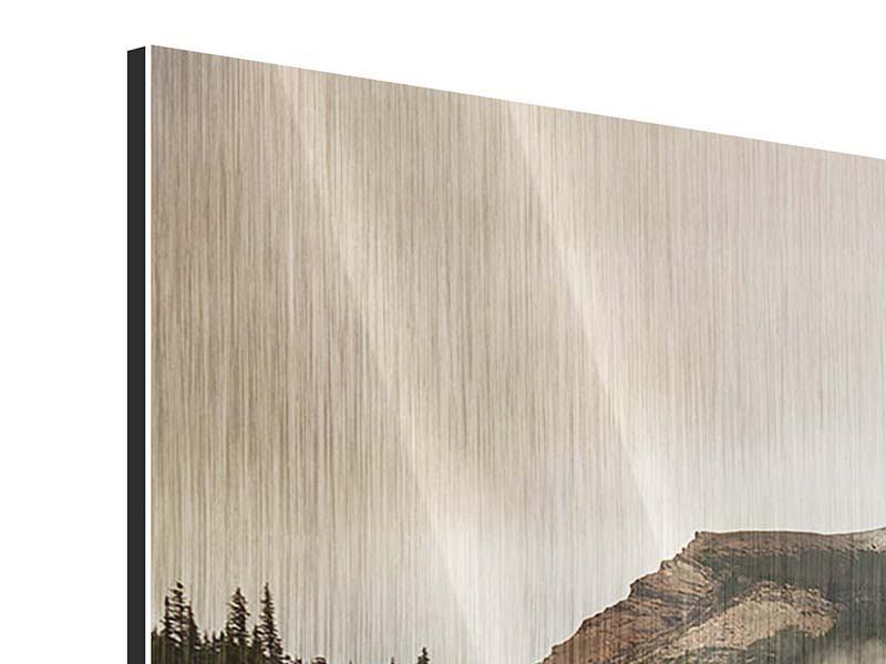 Panorama Metallic-Bild 3-teilig Spiegelung im Glacier Nationalpark