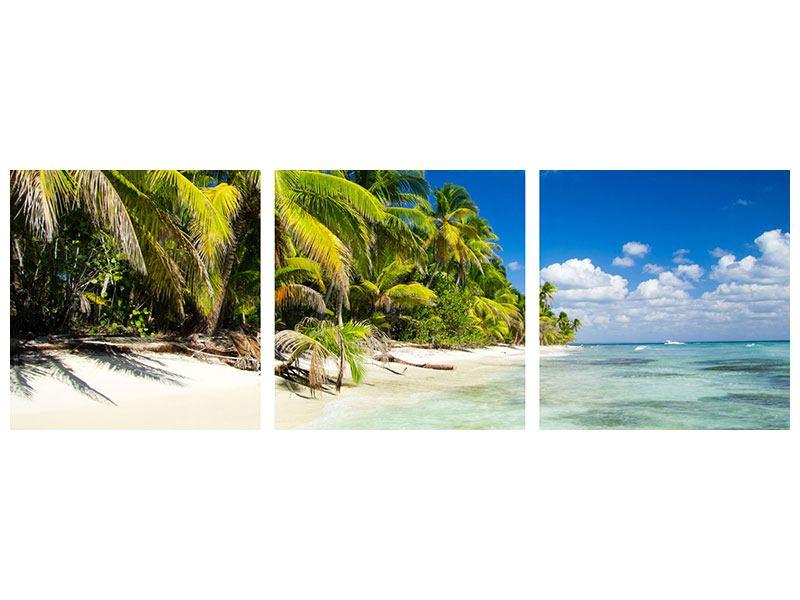 Panorama Metallic-Bild 3-teilig Die einsame Insel
