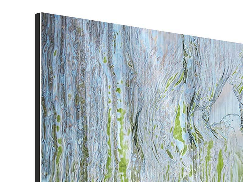 Panorama Metallic-Bild 3-teilig Hinter dem Wasserfall