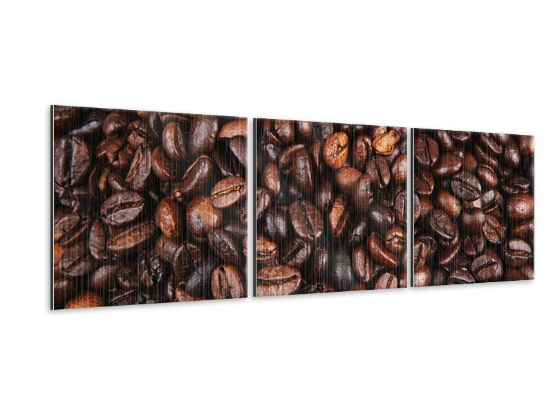 Panorama Metallic-Bild 3-teilig Kaffeebohnen in XXL