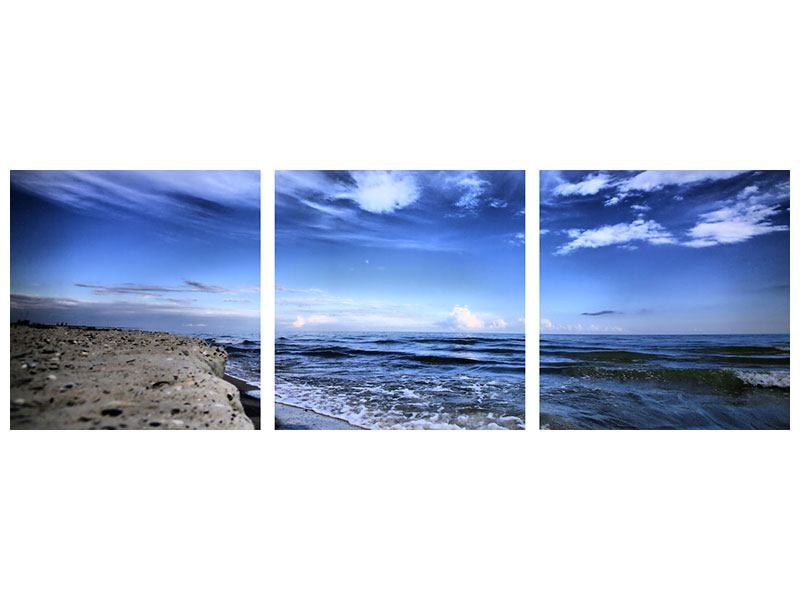 Panorama Metallic-Bild 3-teilig Strandwellen