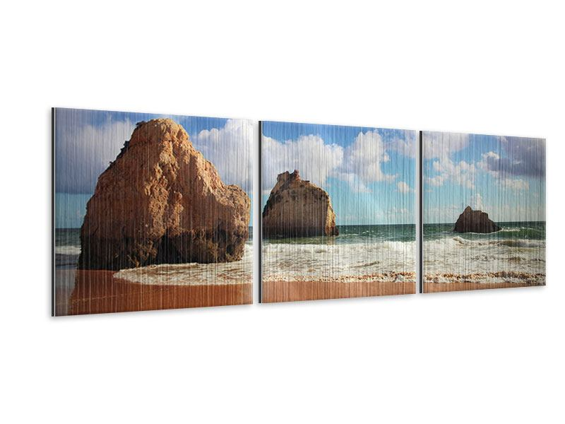Panorama Metallic-Bild 3-teilig Strandgedanken