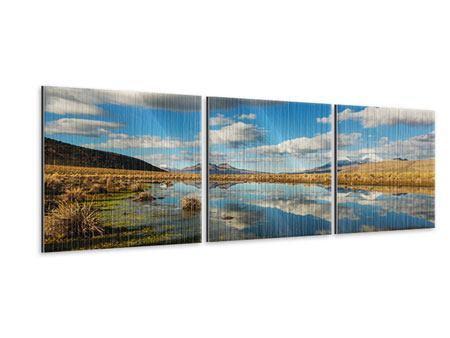 Panorama Metallic-Bild 3-teilig Wasserspiegelung am See
