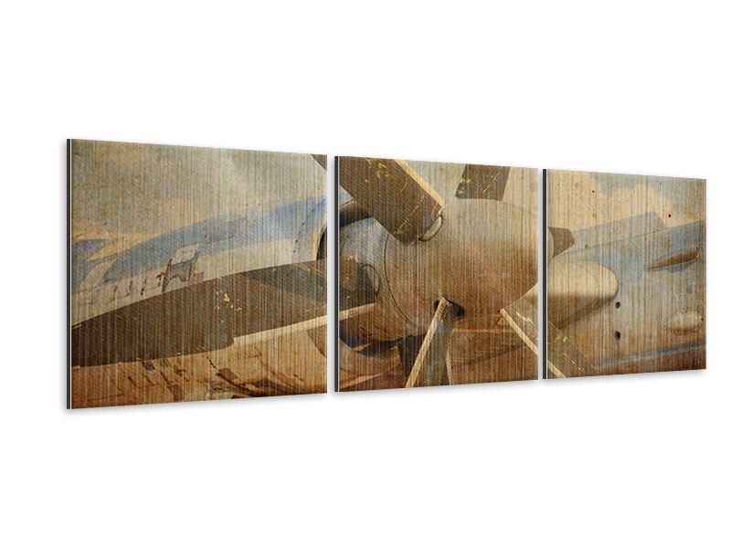 Panorama Metallic-Bild 3-teilig Propellerflugzeug im Grungestil
