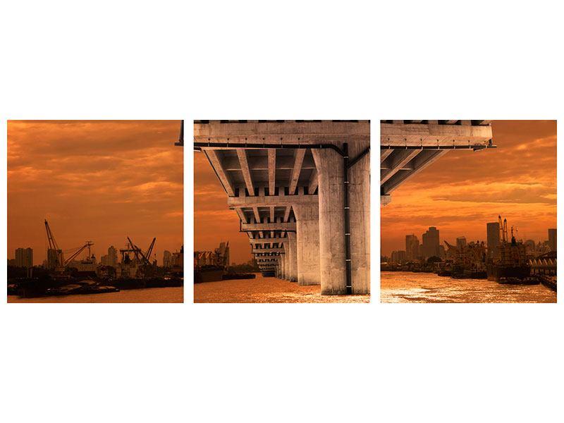 Panorama Metallic-Bild 3-teilig Die Brücke