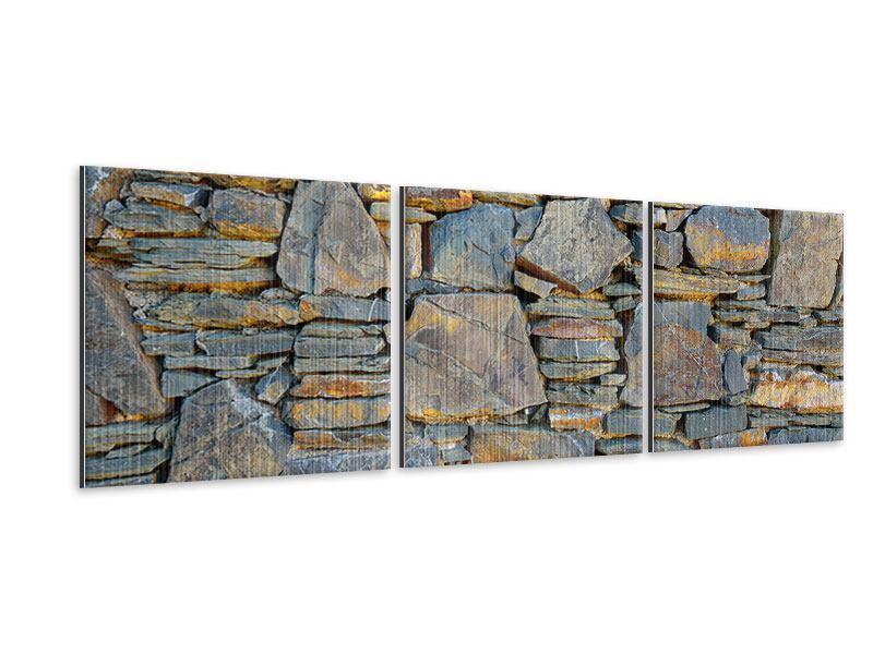 Panorama Metallic-Bild 3-teilig Natürliche Steinmauer