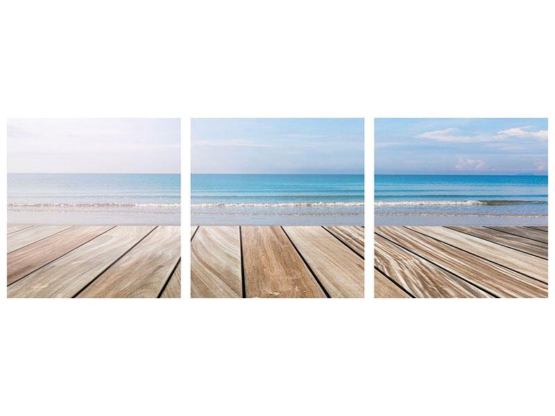 Panorama Metallic-Bild 3-teilig Das schöne Strandhaus