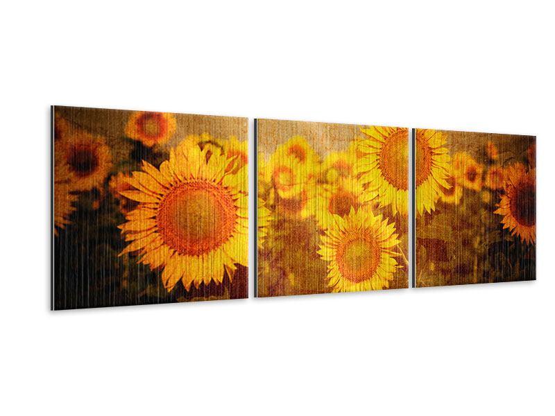 Panorama Metallic-Bild 3-teilig Retro-Sonnenblumen