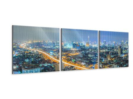 Panorama Metallic-Bild 3-teilig Skyline Bangkok im Fieber der Nacht
