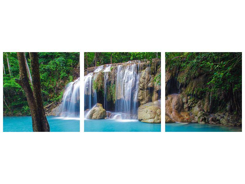 Panorama Metallic-Bild 3-teilig Naturerlebnis Wasserfall