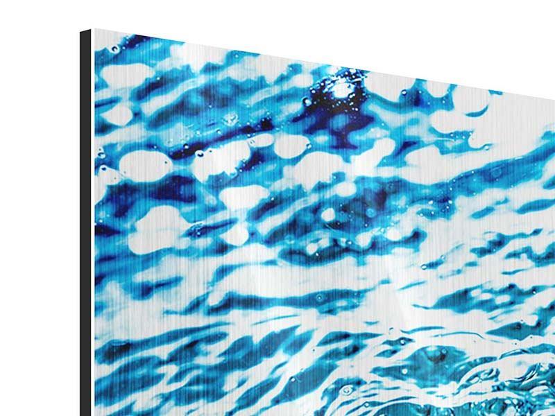 Panorama Metallic-Bild 3-teilig Wasser in Bewegung