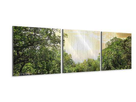 Panorama Metallic-Bild 3-teilig Am Ende des Waldes