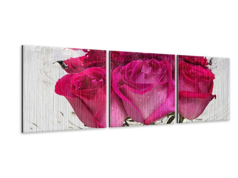 Panorama Metallic-Bild 3-teilig Die Rosenspiegelung