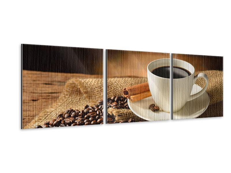 Panorama Metallic-Bild 3-teilig Kaffeepause
