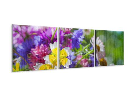 Panorama Metallic-Bild 3-teilig XXL Gartenblumen