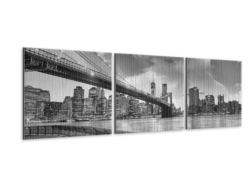 Panorama Metallic-Bild 3-teilig Skyline Schwarzweissfotografie Brooklyn Bridge NY