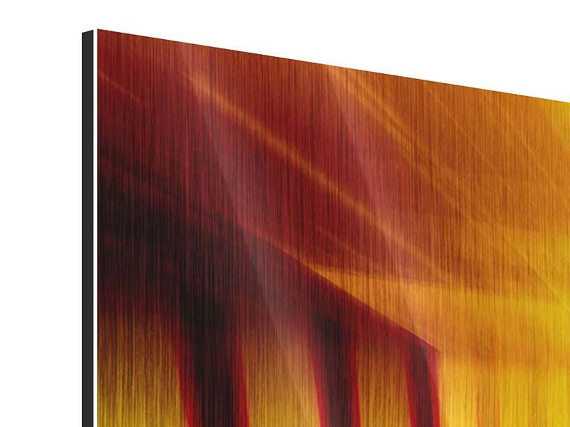 Panorama Metallic-Bild 3-teilig Abstrakter Goldener Raum