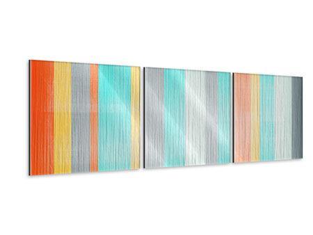 Panorama Metallic-Bild 3-teilig Grunge Streifen