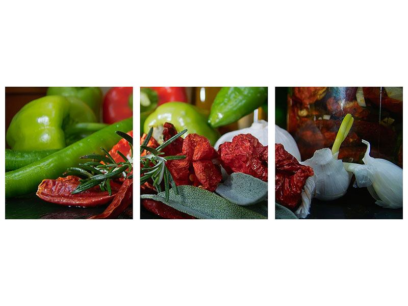 Panoramic 3 Piece Metallic Print Mediterranean Vegetables