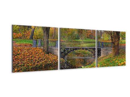 Panorama Metallic-Bild 3-teilig Romantischer Park