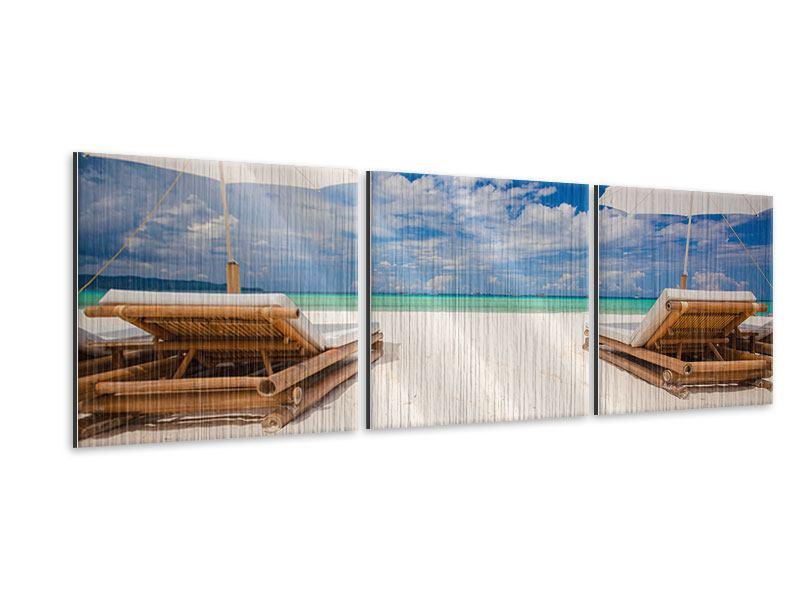 Panorama Metallic-Bild 3-teilig Liegen am Strand