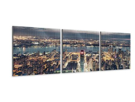 Panorama Metallic-Bild 3-teilig Skyline Manhattan Citylights