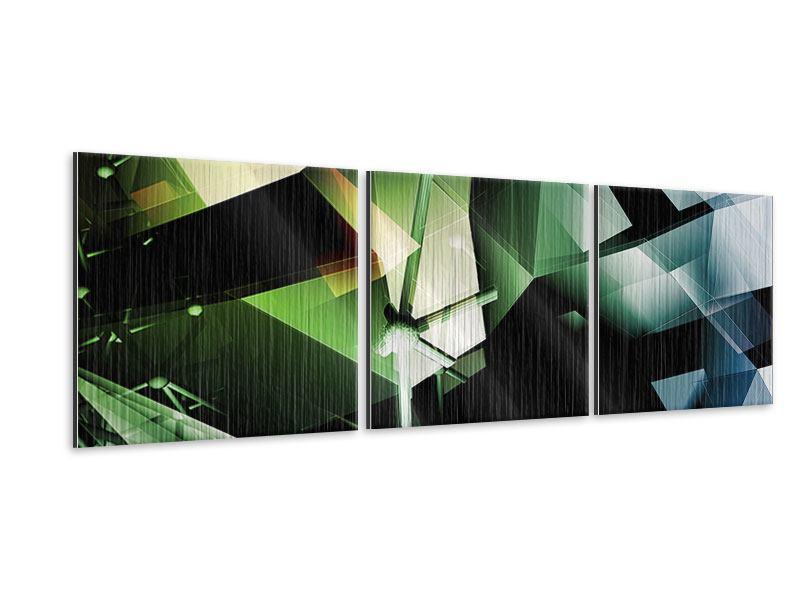 Panorama Metallic-Bild 3-teilig 3D-Polygon