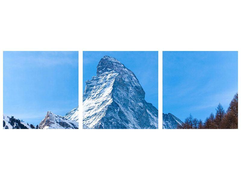 Panorama Metallic-Bild 3-teilig Das majestätische Matterhorn