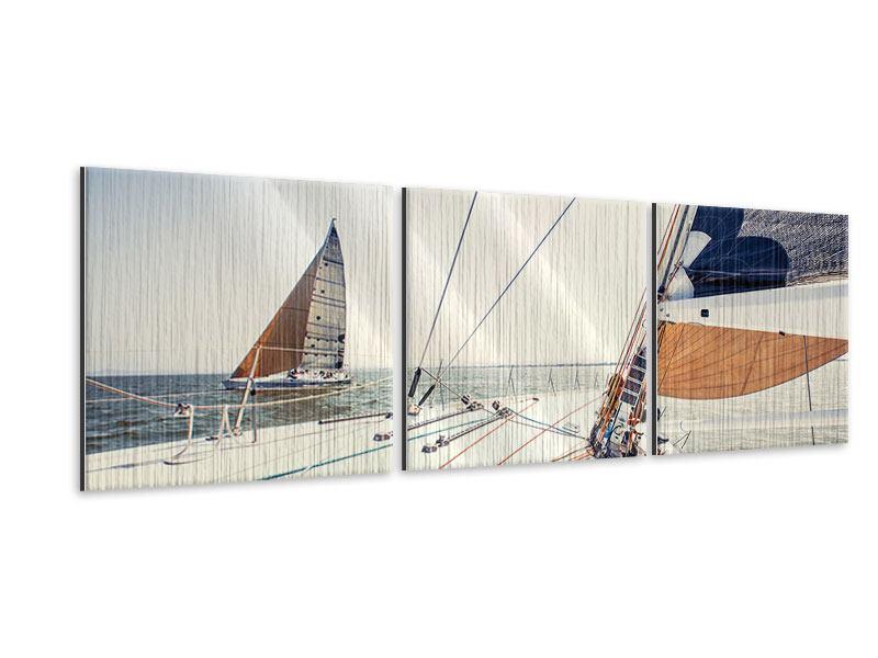 Panorama Metallic-Bild 3-teilig Segelyacht