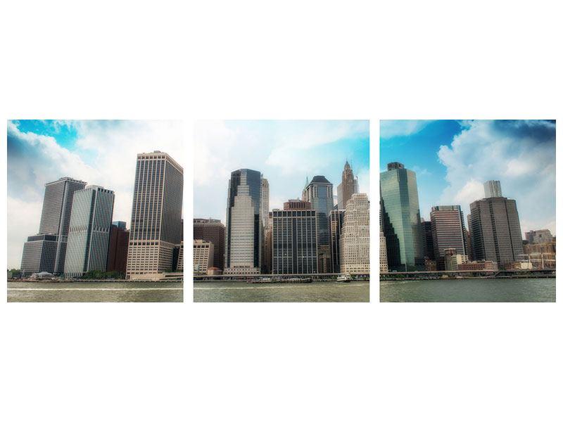 Panorama Metallic-Bild 3-teilig Skyline Lower Manhattan