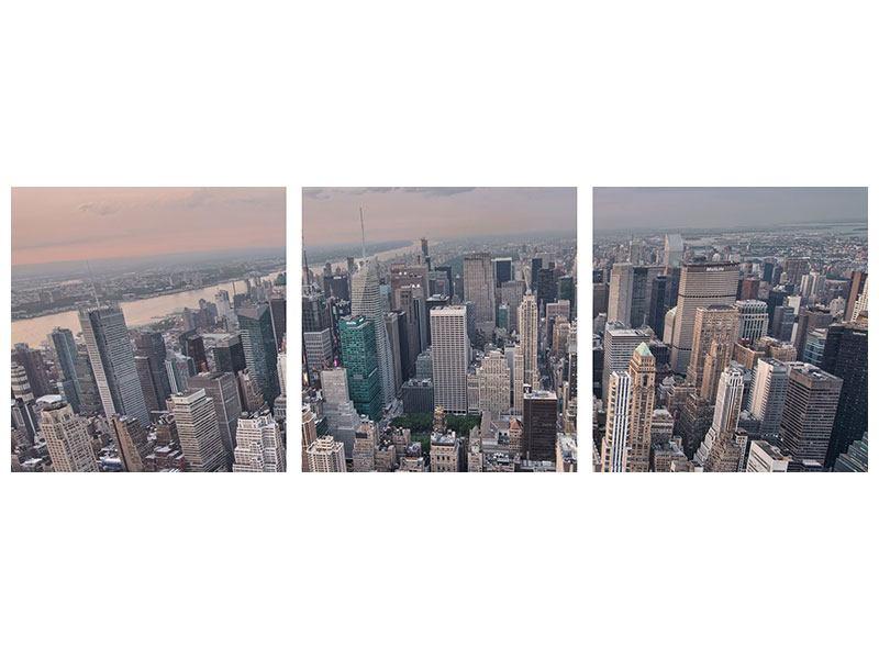 Panorama Metallic-Bild 3-teilig Skyline Blick über Manhattan