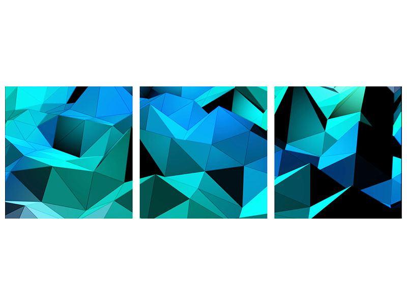 Panorama Metallic-Bild 3-teilig 3D-Diamonds