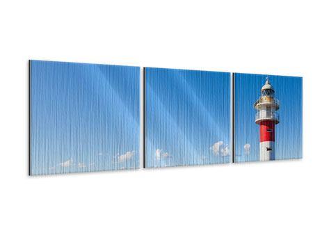 Panorama Metallic-Bild 3-teilig Leuchtturm in Punta Teno