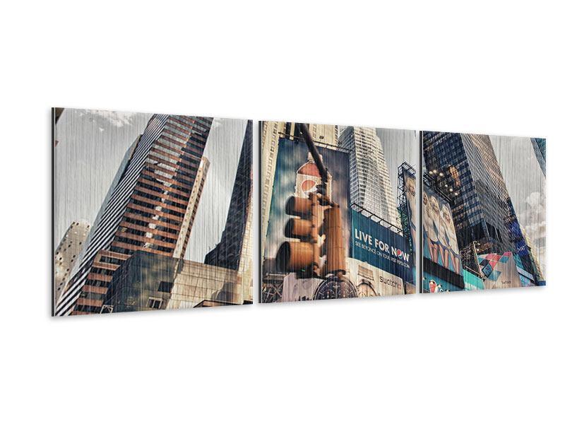 Panorama Metallic-Bild 3-teilig Times Square