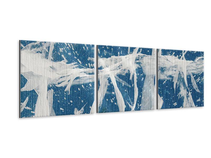 Panorama Metallic-Bild 3-teilig Eiskristalle