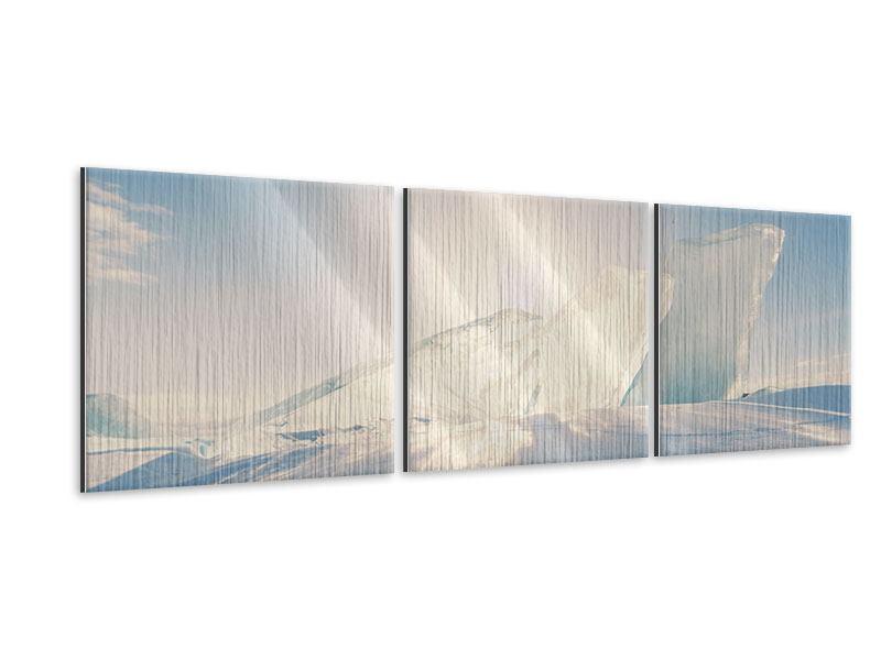 Panorama Metallic-Bild 3-teilig Eislandschaft