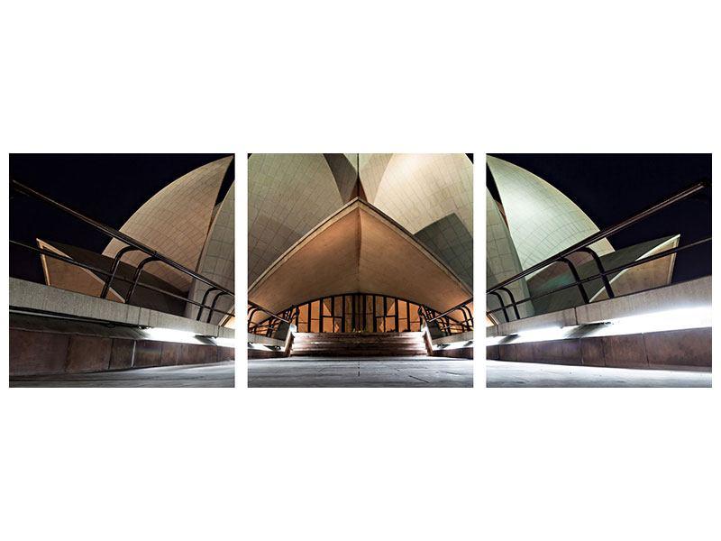 Panorama Metallic-Bild 3-teilig Der Lotus-Tempel