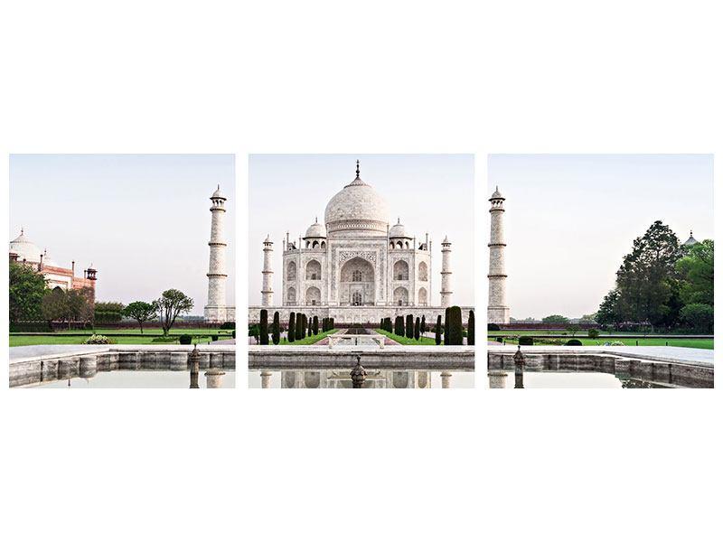 Panorama Metallic-Bild 3-teilig Taj Mahal