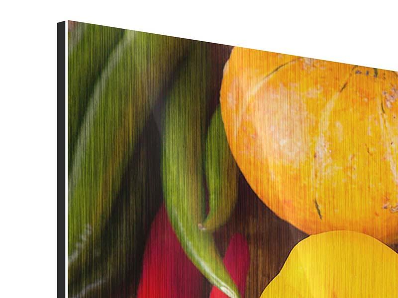 Panorama Metallic-Bild 3-teilig Gemüsefrische