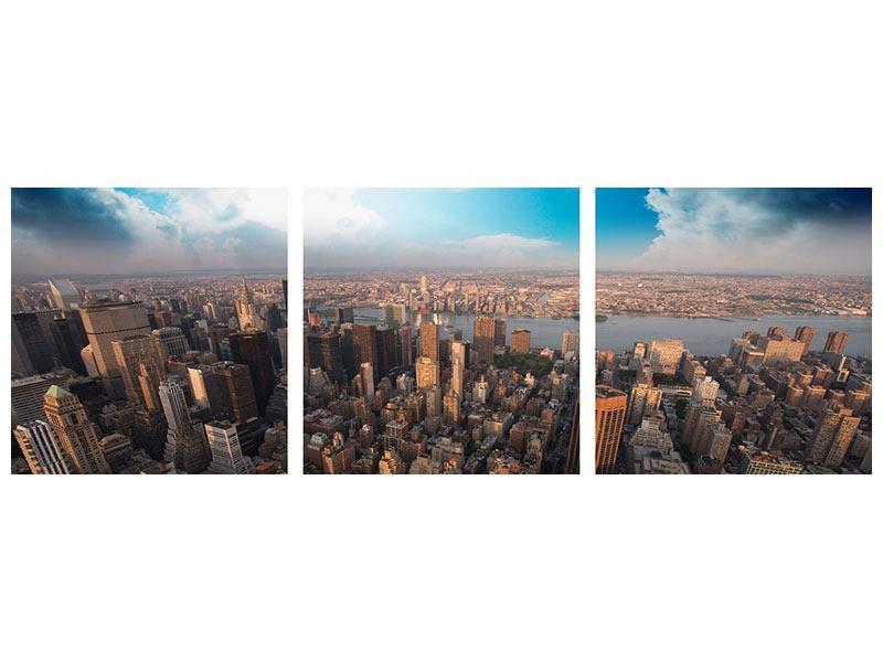 Panorama Metallic-Bild 3-teilig Skyline Über den Dächern von Manhattan