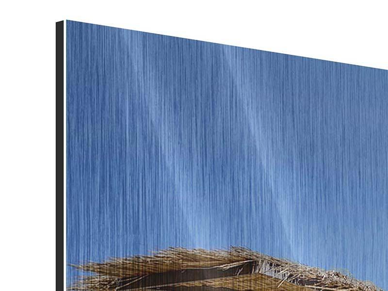 Panorama Metallic-Bild 3-teilig Umbrellas