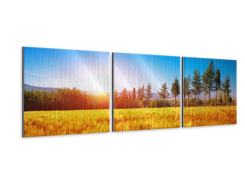 Panorama Metallic-Bild 3-teilig Der Herbst