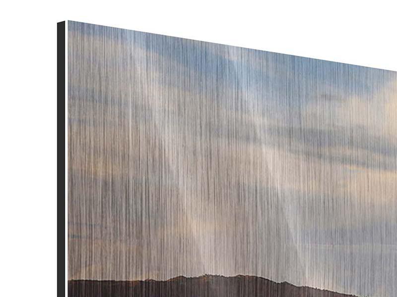 Panorama Metallic-Bild 3-teilig Der Bromo Vulkan