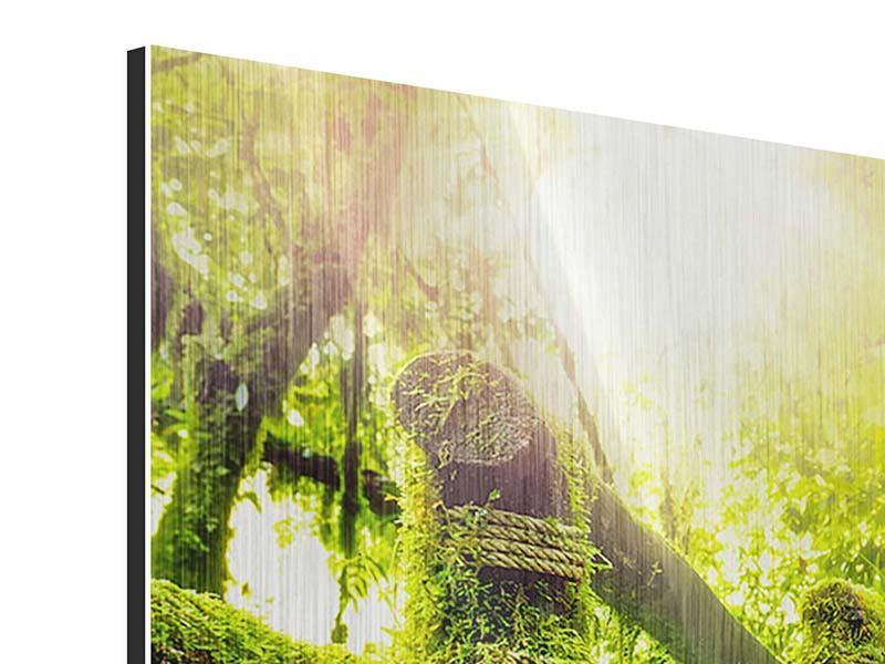 Panorama Metallic-Bild 3-teilig Moos