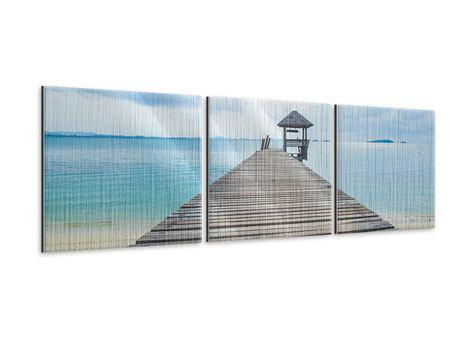 Panorama Metallic-Bild 3-teilig Ozean-Steg